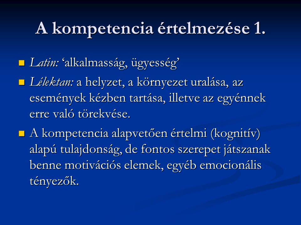 A kompetencia értelmezése 1.