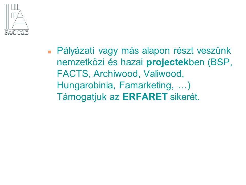 Pályázati vagy más alapon részt veszünk nemzetközi és hazai projectekben (BSP, FACTS, Archiwood, Valiwood, Hungarobinia, Famarketing, …) Támogatjuk az ERFARET sikerét.