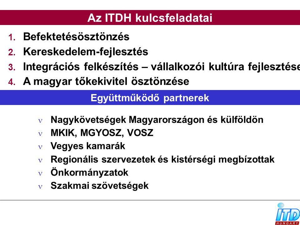 Az ITDH kulcsfeladatai Együttműködő partnerek