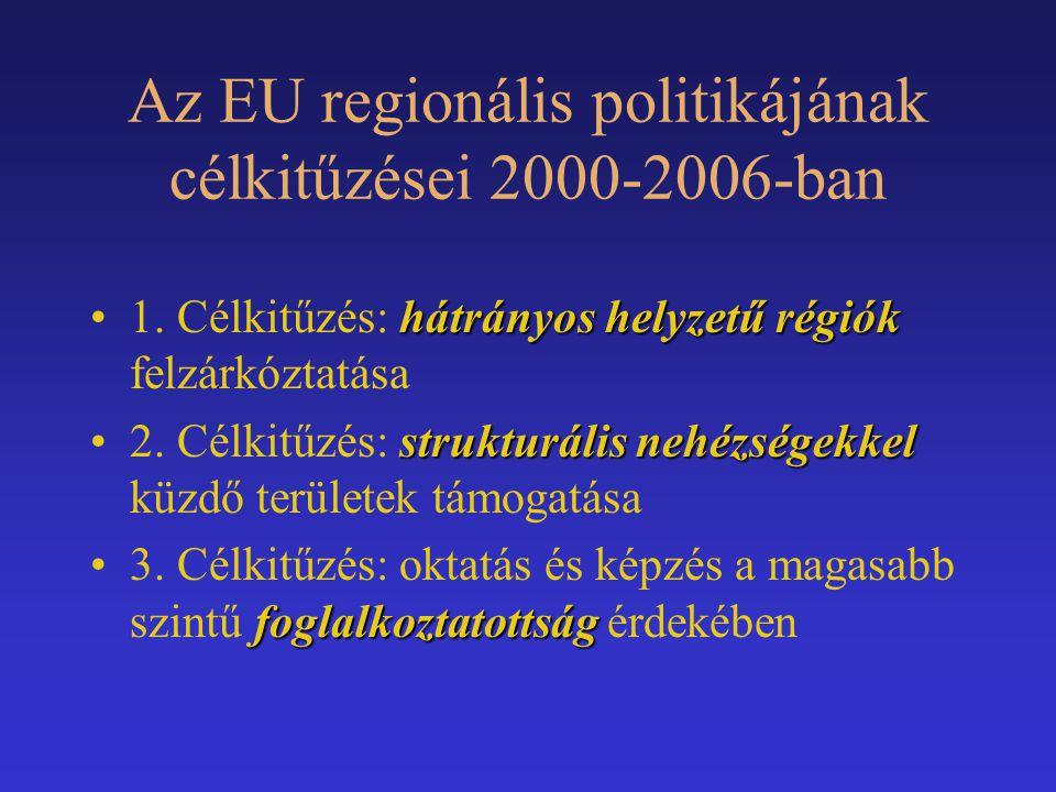 Az EU regionális politikájának célkitűzései 2000-2006-ban