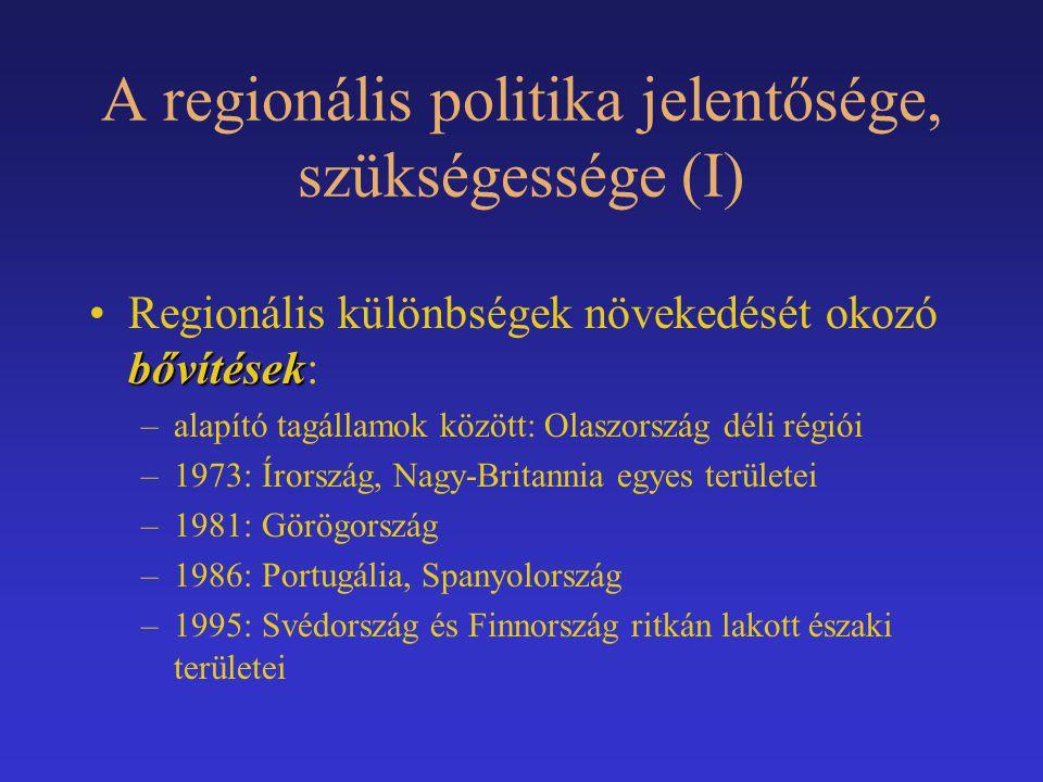 A regionális politika jelentősége, szükségessége (I)