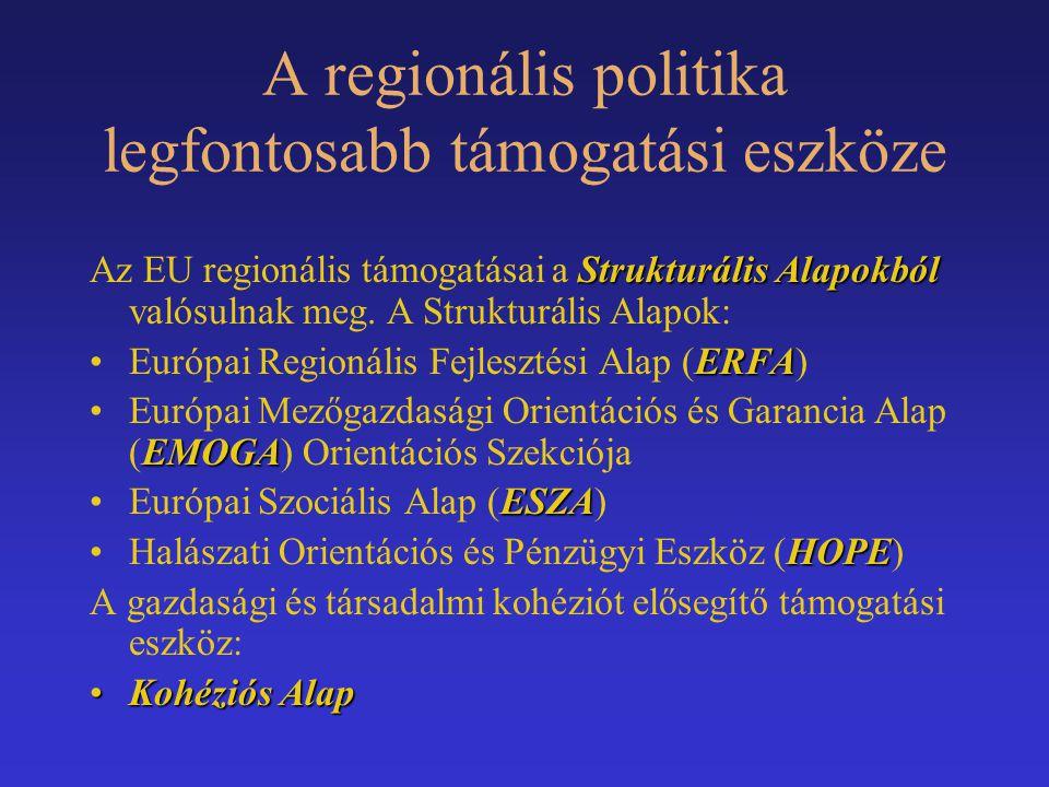 A regionális politika legfontosabb támogatási eszköze