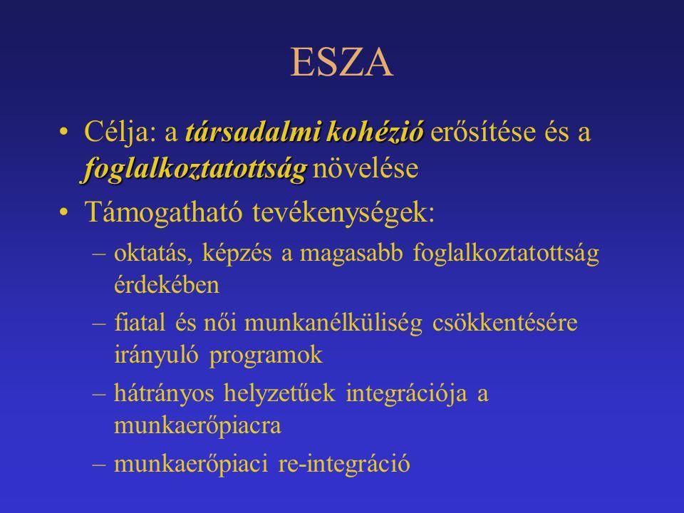 ESZA Célja: a társadalmi kohézió erősítése és a foglalkoztatottság növelése. Támogatható tevékenységek: