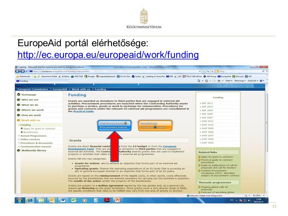 EuropeAid portál elérhetősége: http://ec. europa