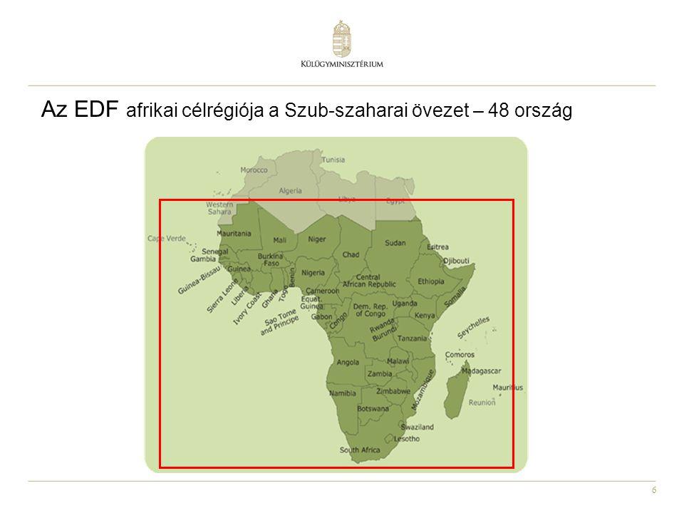 Az EDF afrikai célrégiója a Szub-szaharai övezet – 48 ország