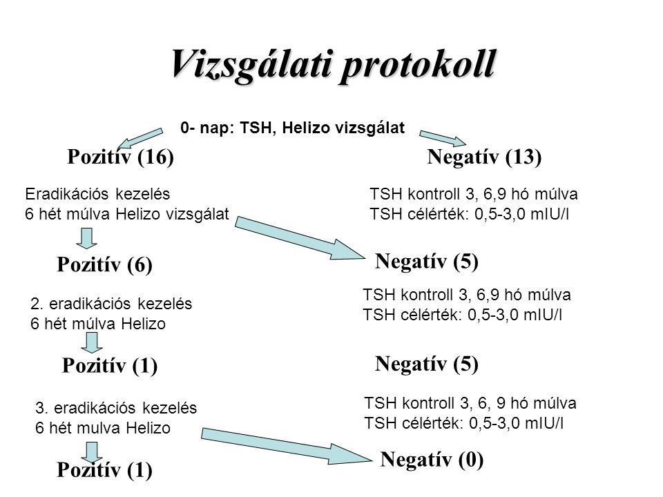 Vizsgálati protokoll Pozitív (16) Negatív (13) Pozitív (6) Negatív (5)