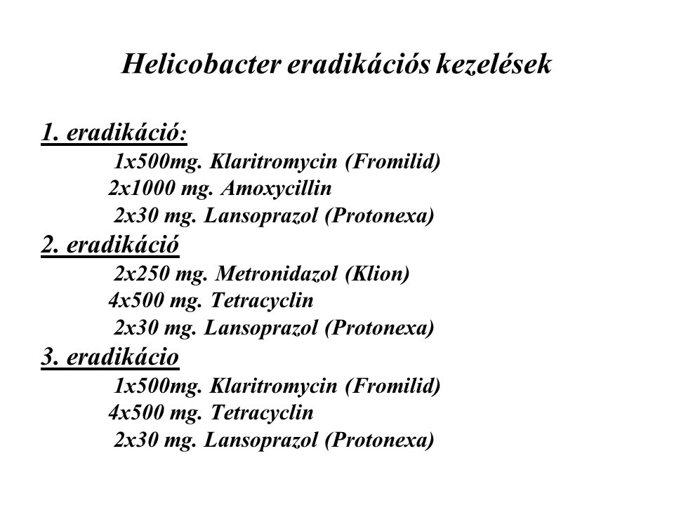Helicobacter eradikációs kezelések