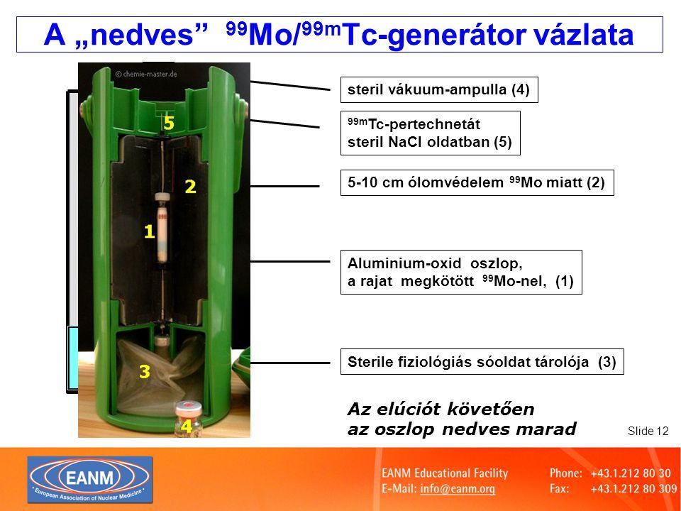 """A """"nedves 99Mo/99mTc-generátor vázlata"""
