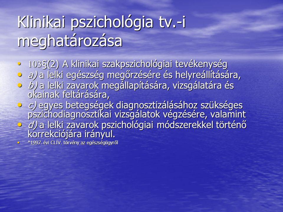 Klinikai pszichológia tv.-i meghatározása