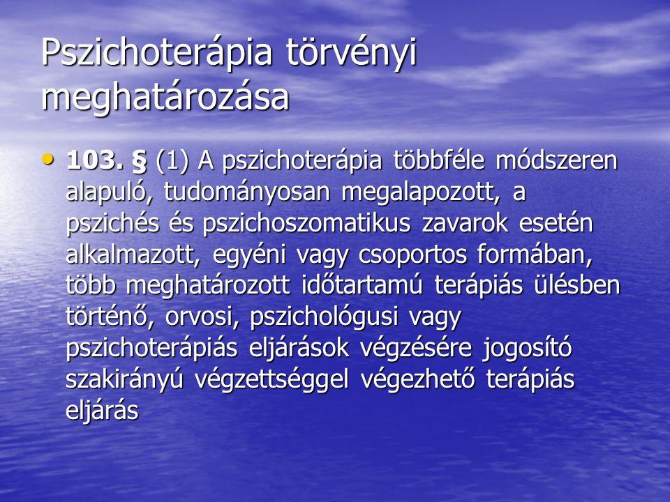 Pszichoterápia törvényi meghatározása