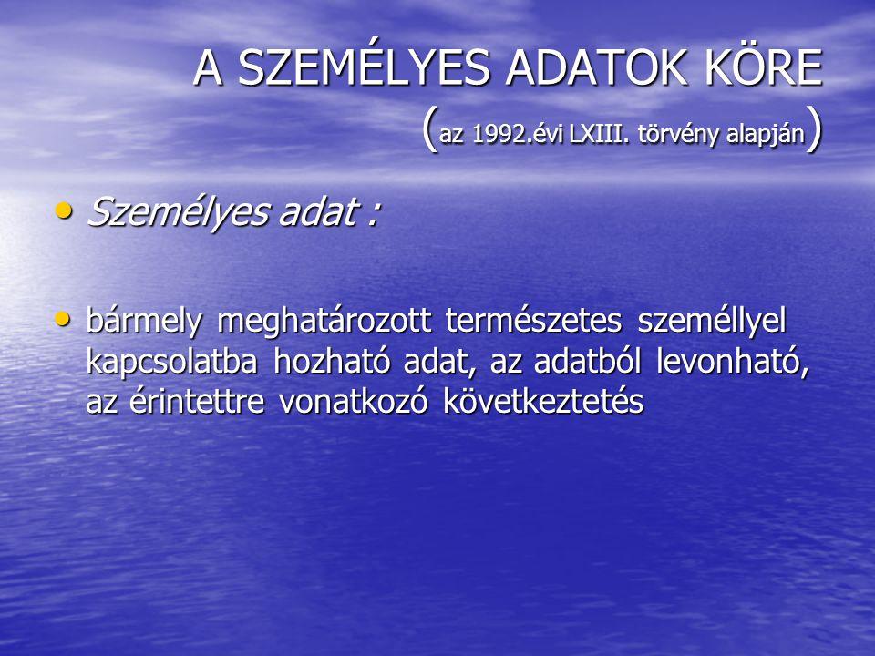 A SZEMÉLYES ADATOK KÖRE (az 1992.évi LXIII. törvény alapján)