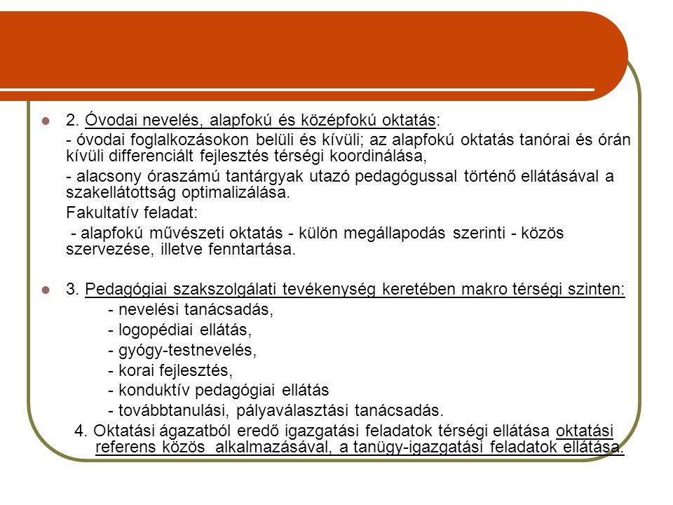 2. Óvodai nevelés, alapfokú és középfokú oktatás: