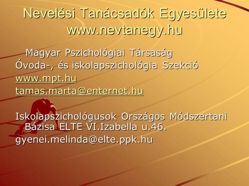 Nevelési Tanácsadók Egyesülete www.nevtanegy.hu