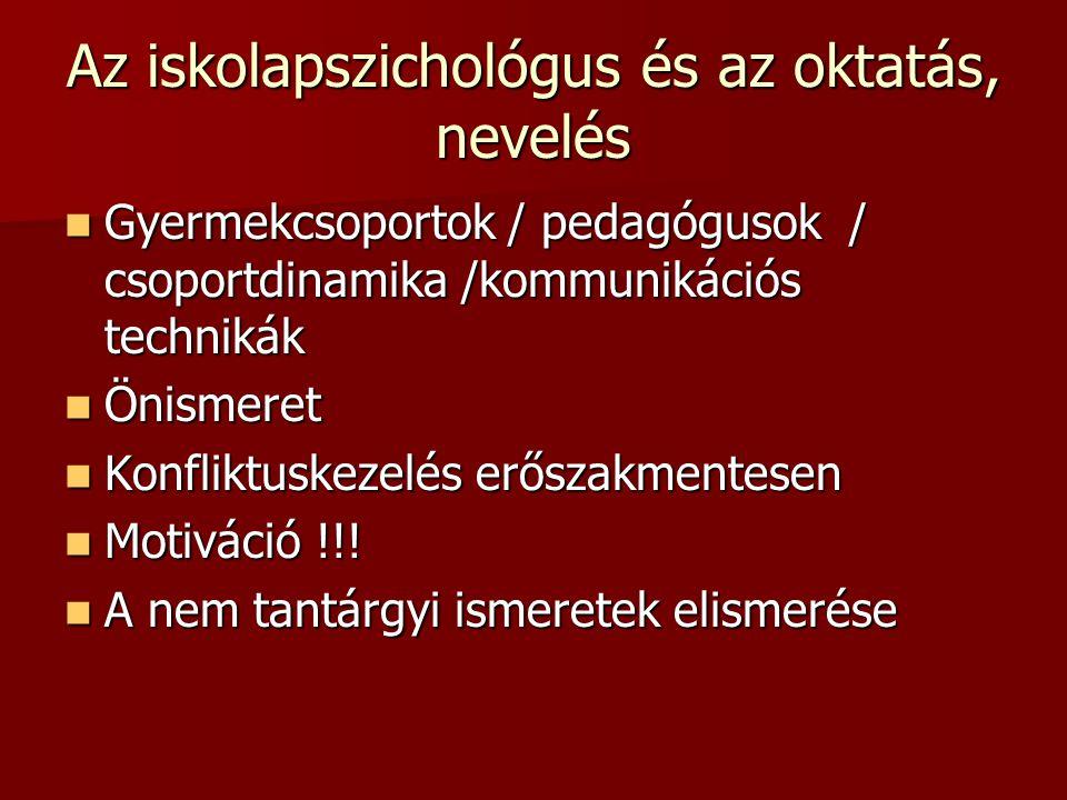Az iskolapszichológus és az oktatás, nevelés