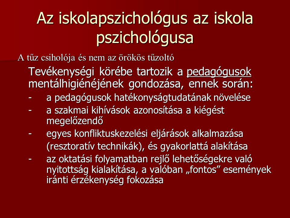 Az iskolapszichológus az iskola pszichológusa