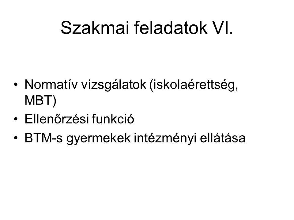Szakmai feladatok VI. Normatív vizsgálatok (iskolaérettség, MBT)