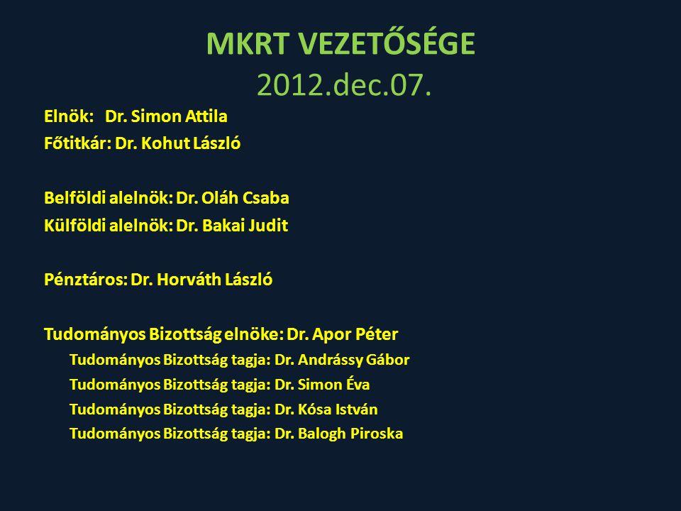MKRT VEZETŐSÉGE 2012.dec.07. Elnök: Dr. Simon Attila