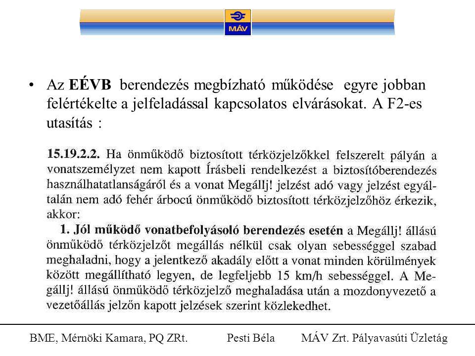 Az EÉVB berendezés megbízható működése egyre jobban felértékelte a jelfeladással kapcsolatos elvárásokat.