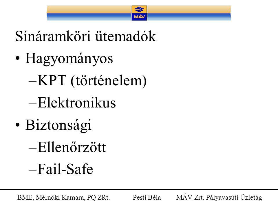 Sínáramköri ütemadók Hagyományos KPT (történelem) Elektronikus Biztonsági Ellenőrzött Fail-Safe