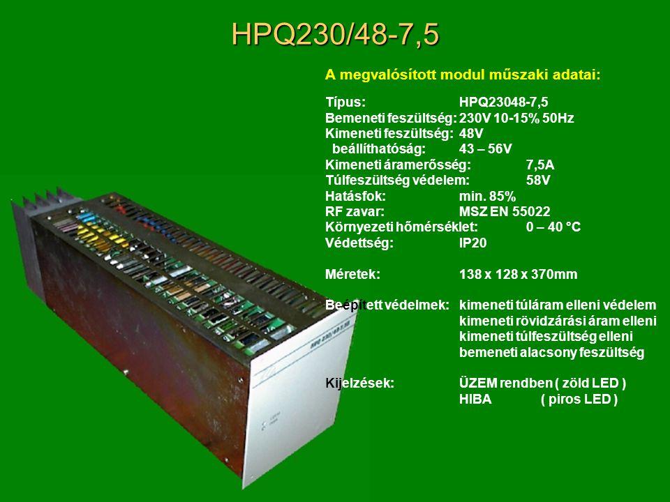 HPQ230/48-7,5 A megvalósított modul műszaki adatai: