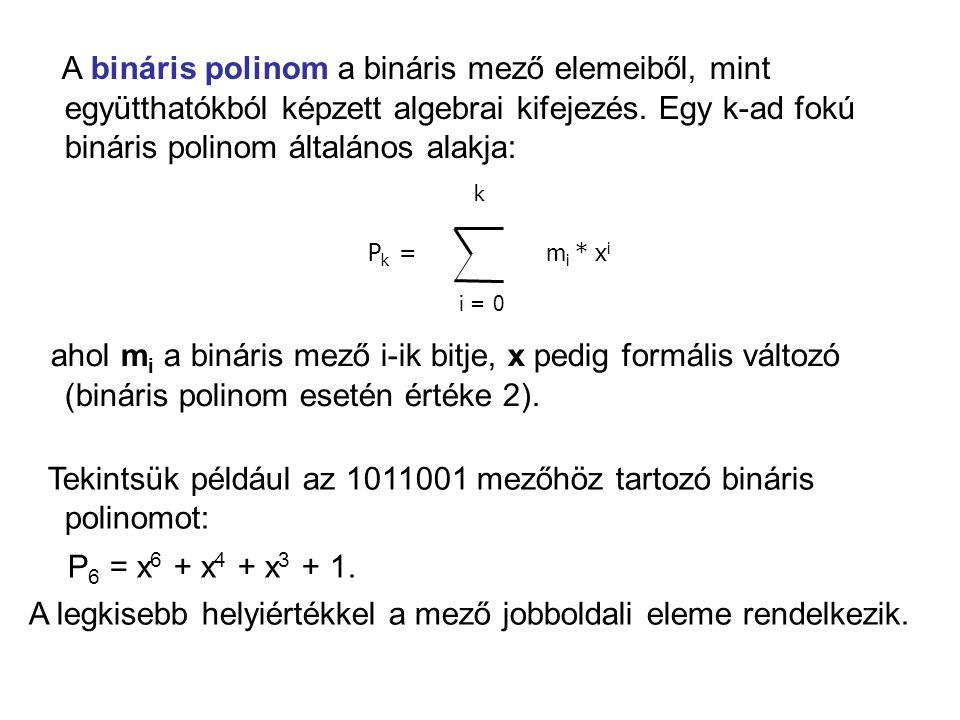 A bináris polinom a bináris mező elemeiből, mint együtthatókból képzett algebrai kifejezés. Egy k-ad fokú bináris polinom általános alakja:
