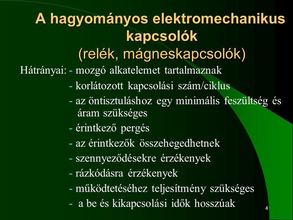 A hagyományos elektromechanikus kapcsolók (relék, mágneskapcsolók)