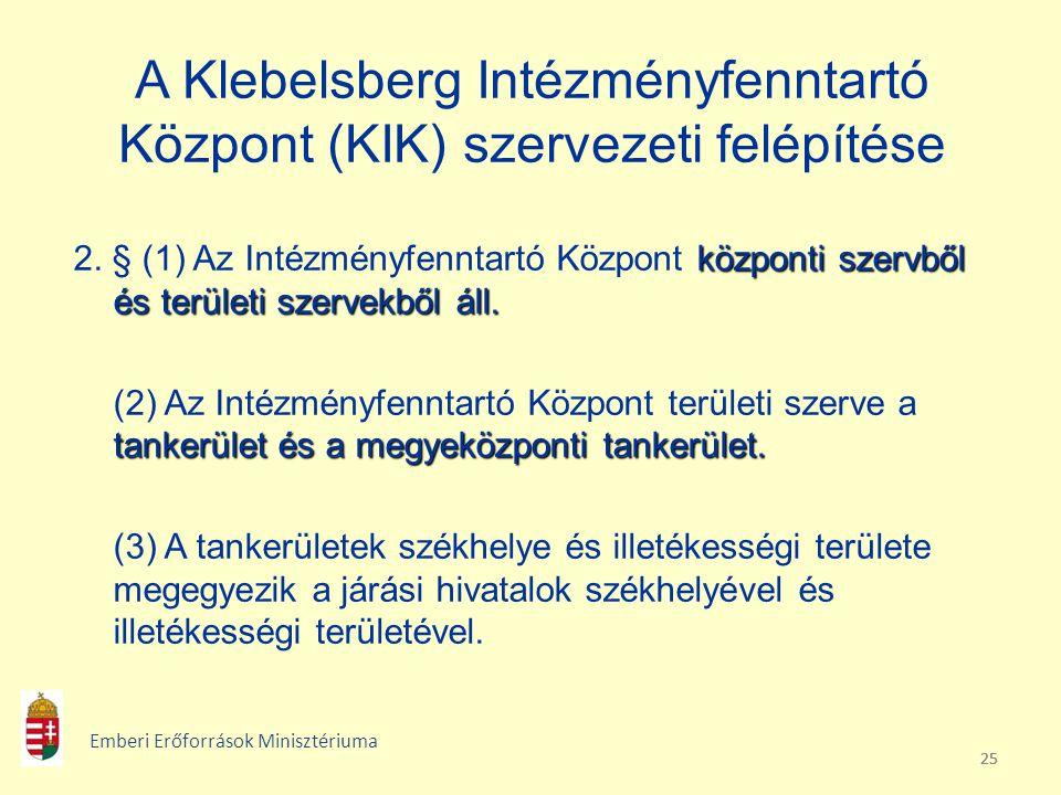 A Klebelsberg Intézményfenntartó Központ (KIK) szervezeti felépítése