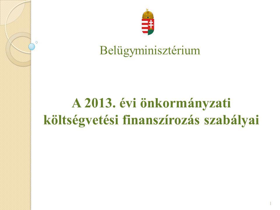 A 2013. évi önkormányzati költségvetési finanszírozás szabályai