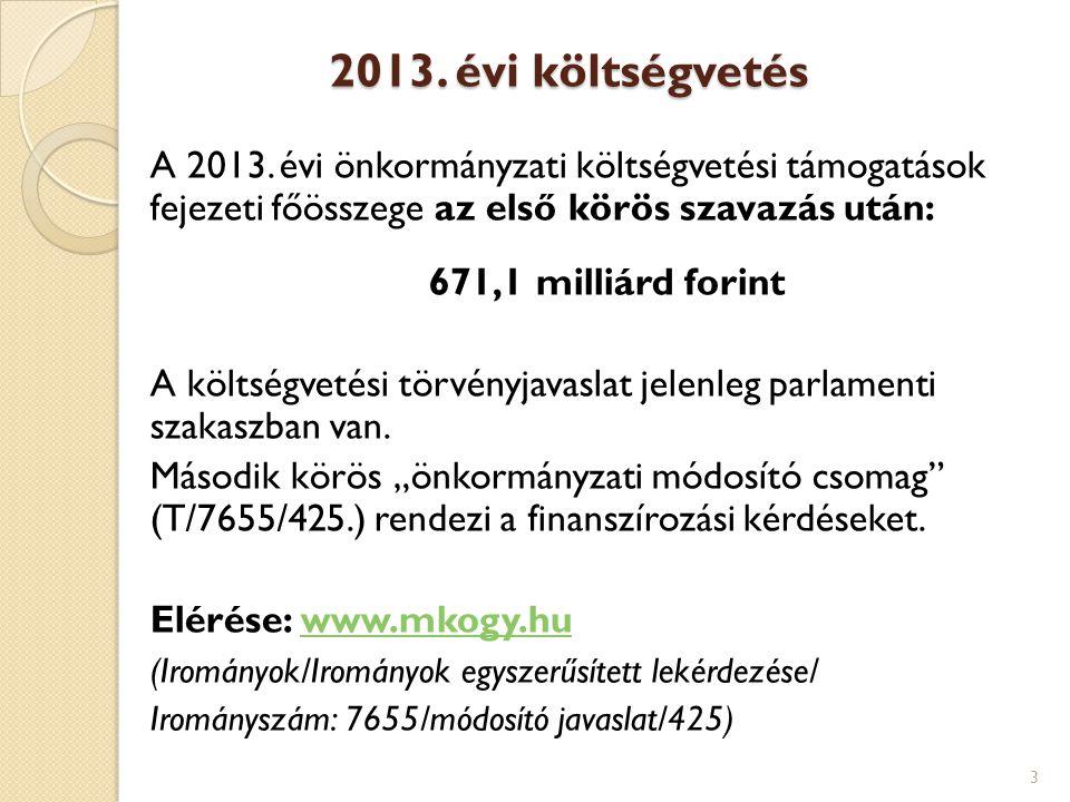 2013. évi költségvetés A 2013. évi önkormányzati költségvetési támogatások fejezeti főösszege az első körös szavazás után: