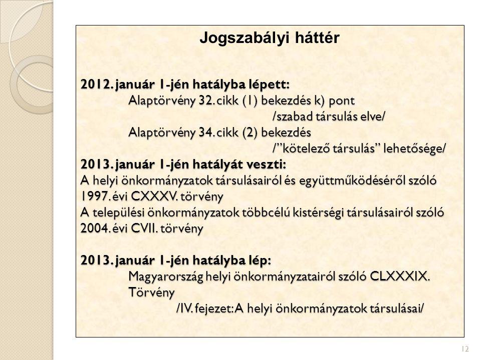 Jogszabályi háttér 2012. január 1-jén hatályba lépett: