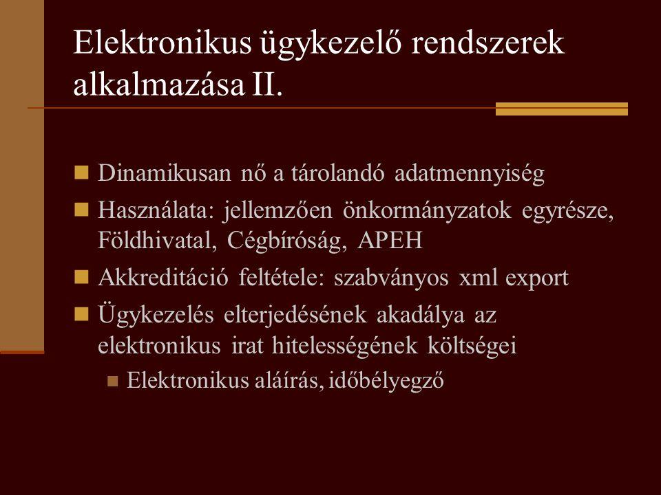 Elektronikus ügykezelő rendszerek alkalmazása II.