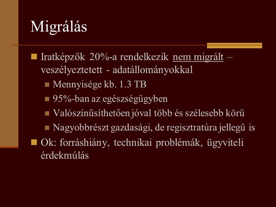 Migrálás Iratképzők 20%-a rendelkezik nem migrált – veszélyeztetett - adatállományokkal. Mennyisége kb. 1.3 TB.