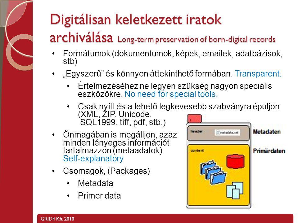 Digitálisan keletkezett iratok archiválása Long-term preservation of born-digital records