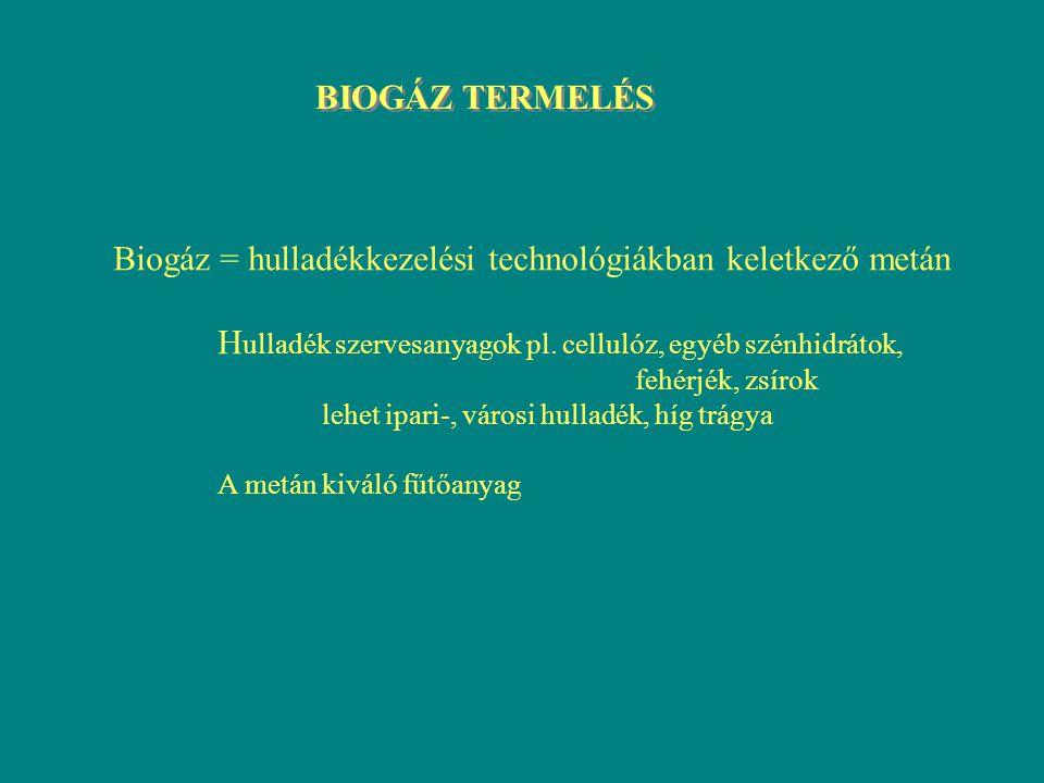 Biogáz = hulladékkezelési technológiákban keletkező metán