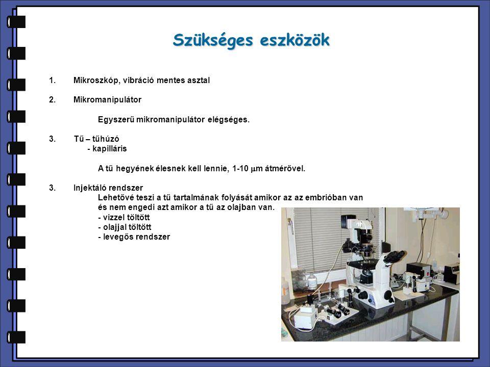 Szükséges eszközök Mikroszkóp, vibráció mentes asztal Mikromanipulátor