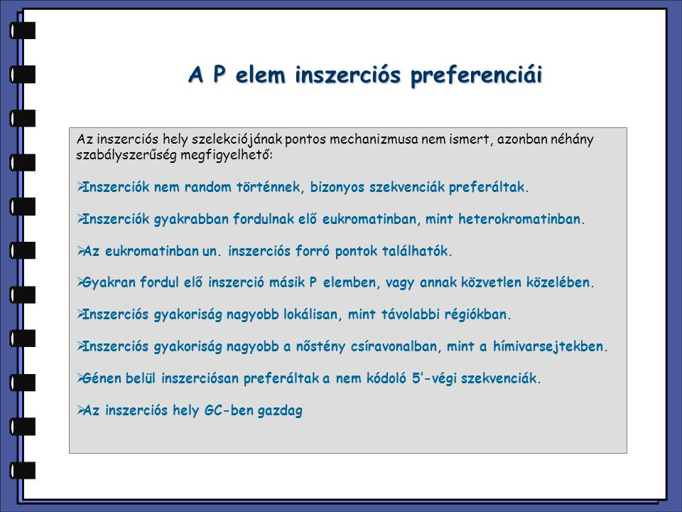 A P elem inszerciós preferenciái