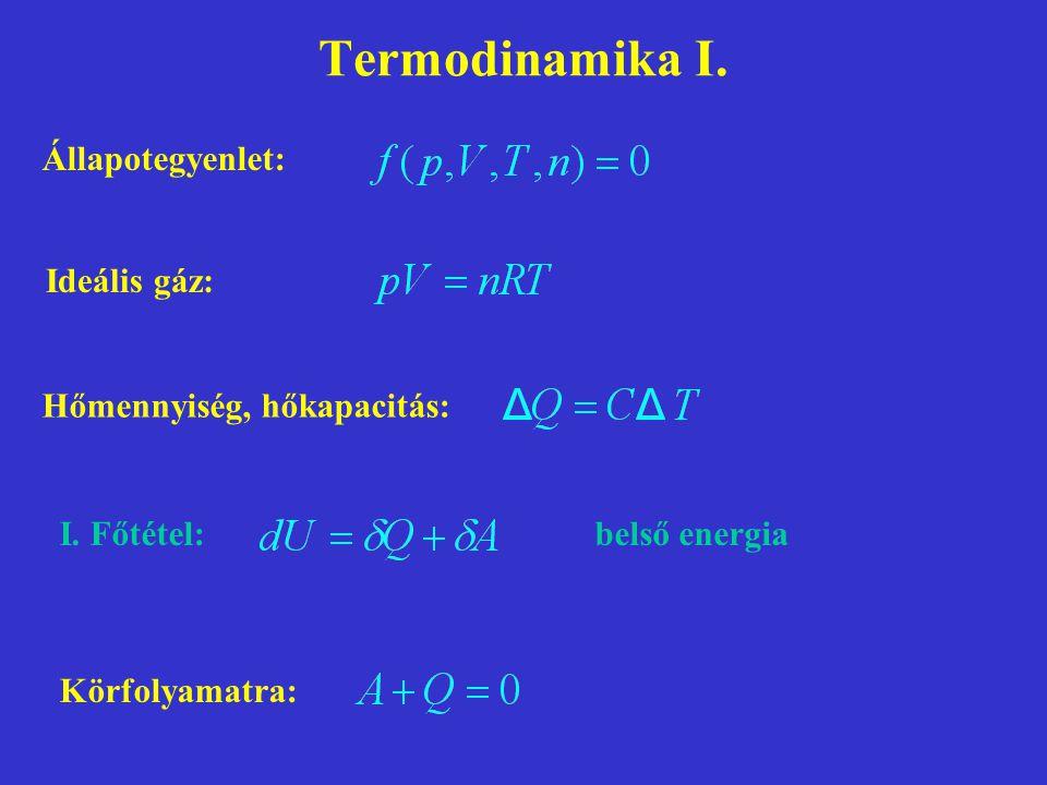 Termodinamika I. Állapotegyenlet: Ideális gáz:
