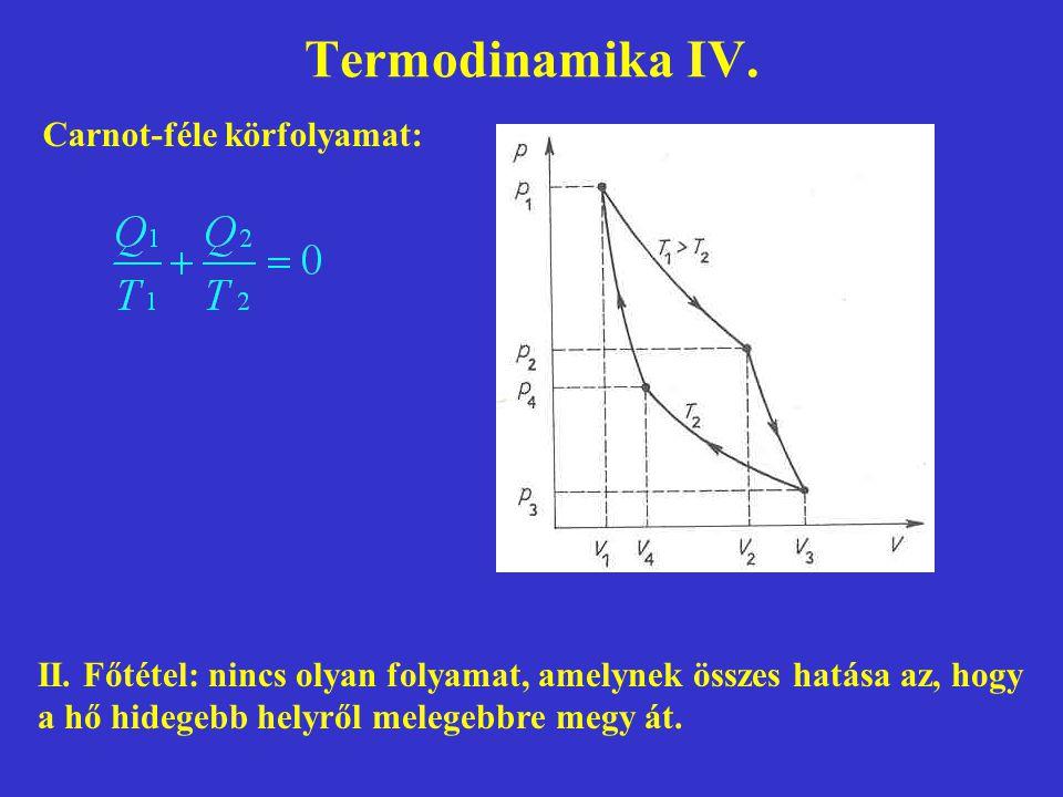 Termodinamika IV. Carnot-féle körfolyamat: