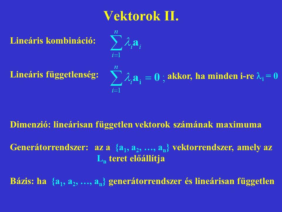 Vektorok II. Lineáris kombináció: Lineáris függetlenség: