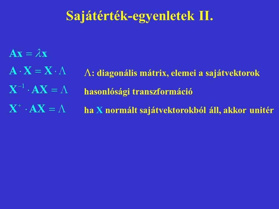 Sajátérték-egyenletek II.