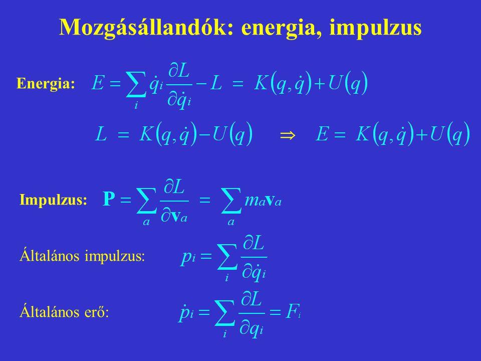 Mozgásállandók: energia, impulzus
