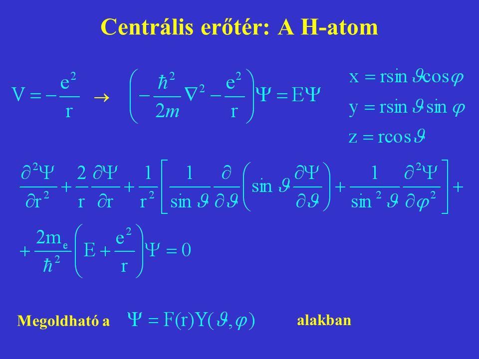 Centrális erőtér: A H-atom