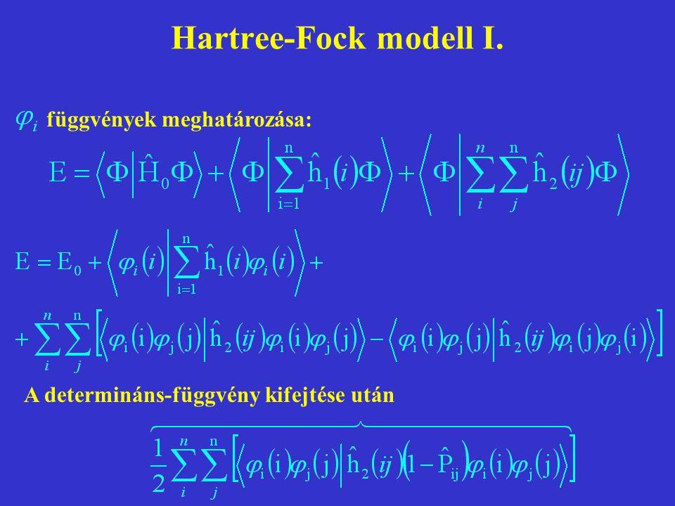 Hartree-Fock modell I. függvények meghatározása: