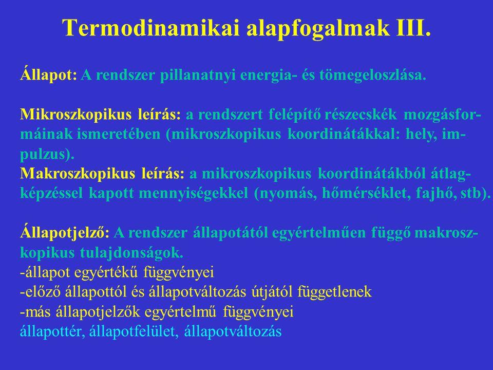 Termodinamikai alapfogalmak III.