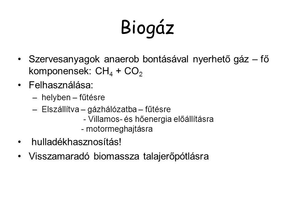 Biogáz Szervesanyagok anaerob bontásával nyerhető gáz – fő komponensek: CH4 + CO2. Felhasználása: helyben – fűtésre.