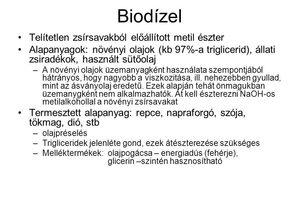 Biodízel Telítetlen zsírsavakból előállított metil észter