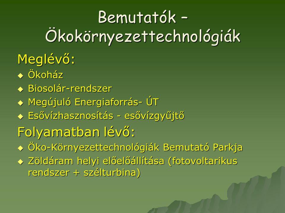 Bemutatók – Ökokörnyezettechnológiák