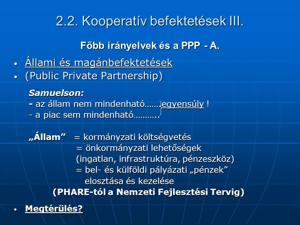 2.2. Kooperatív befektetések III.