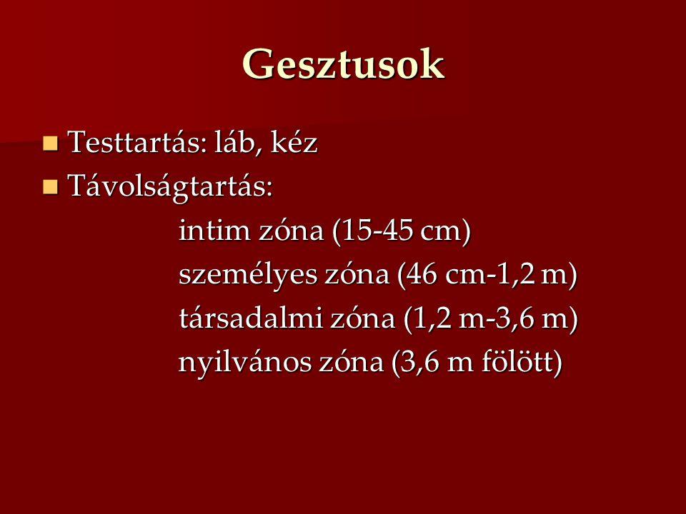 Gesztusok Testtartás: láb, kéz Távolságtartás: intim zóna (15-45 cm)
