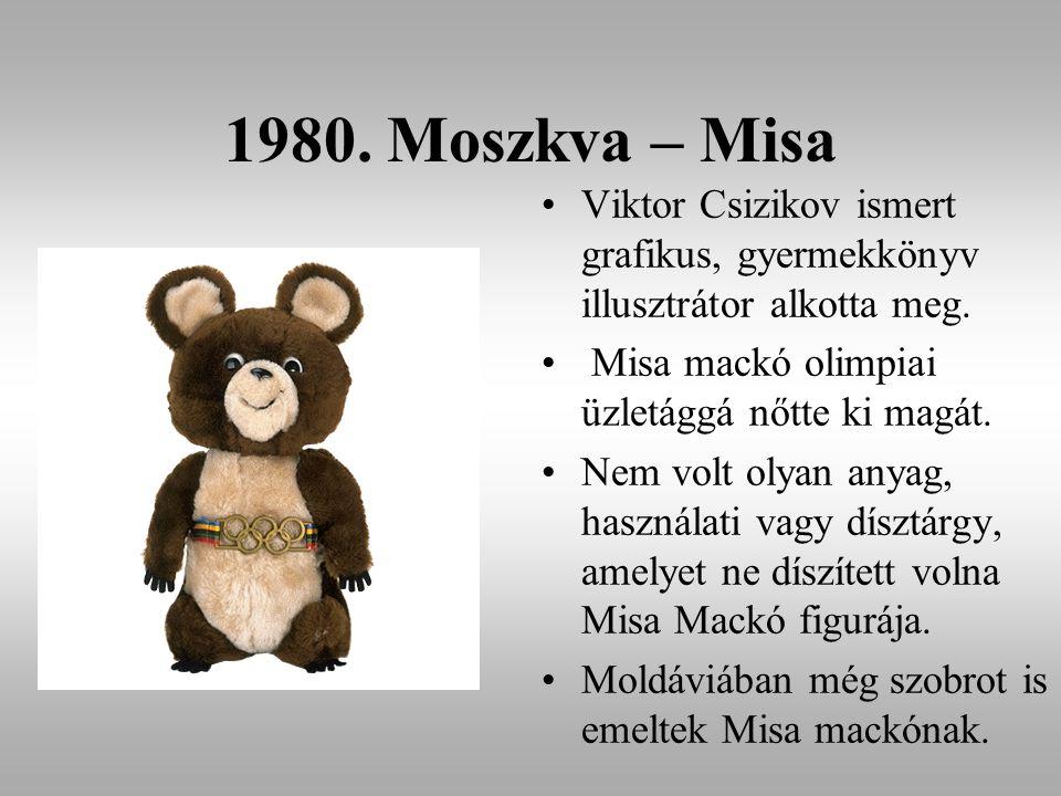 1980. Moszkva – Misa Viktor Csizikov ismert grafikus, gyermekkönyv illusztrátor alkotta meg. Misa mackó olimpiai üzletággá nőtte ki magát.